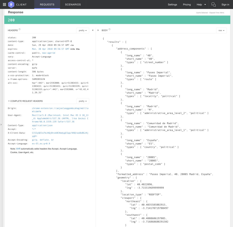 JSON de petición a la API de Google Maps
